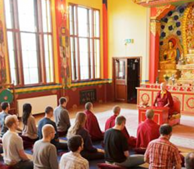 group with Lama Zangmo in Shrine Room